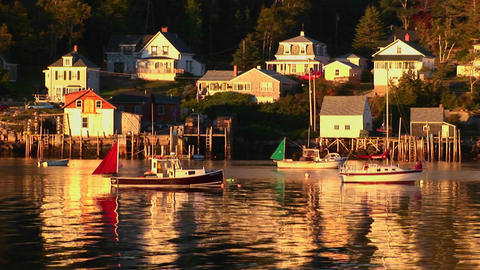 Sailboats are at anchor near a lobster village in Stonington, Maine Footage