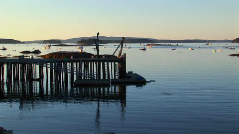 The silhouette of a lobster village in Stonington, Maine Stock Video Footage