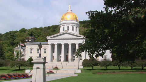 A Gold Dome Tops The Capital Building In Montpelier, Vermont stock footage