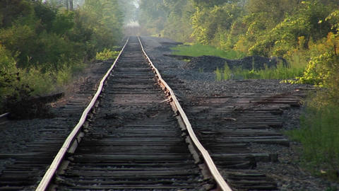 An old railroad track at day Footage