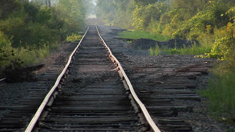 An old railroad track at day Stock Video Footage