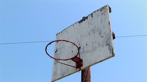 An old basketball hoop Footage