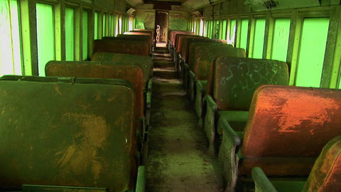Passenger seats in an abandoned railcar Footage
