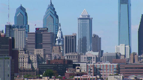 Philadelphia, Pennsylvania skyscrapers and buildings at day Stock Video Footage