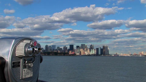 Clouds move over New York Harbor in New York City, NY Footage