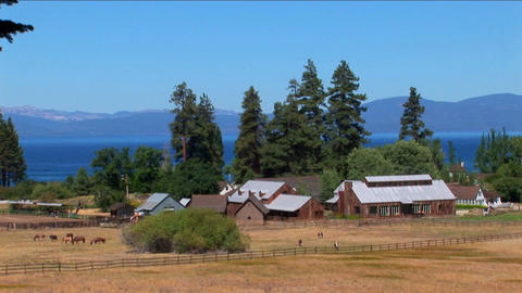 Golden fields in Lake Tahoe surround a small farm near the Sierra Nevada mountains Footage