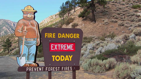 A Smoky Bear fire danger sign Stock Video Footage