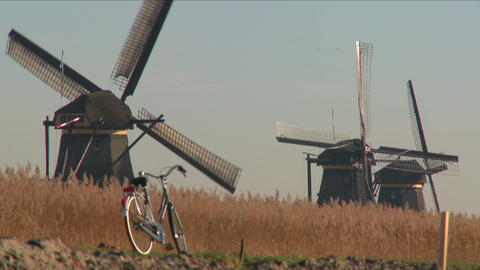 A bicycle is parked along a path in Holland with... Stock Video Footage
