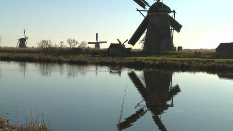 A tilt up to windmills along a canal in Holland Stock Video Footage