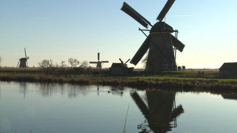 A tilt up to windmills along a canal in Holland Footage