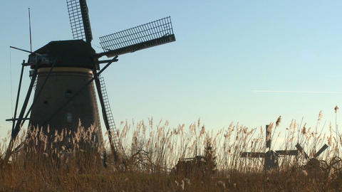 Windmills rise out of the grass in Holland Stock Video Footage