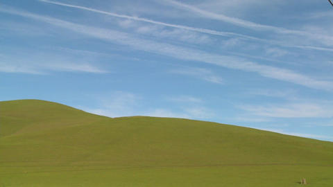 Beautiful green fields and a blue horizon Stock Video Footage