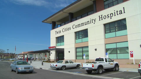 An establishing shot of the Twin Cities Community Hospital Stock Video Footage