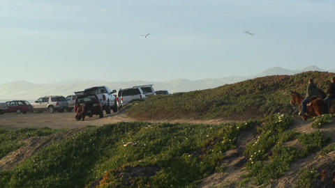 People ride horses along a hillside in Central California Stock Video Footage