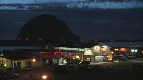 Dusk behind the coastal town of Morro Bay, California Stock Video Footage