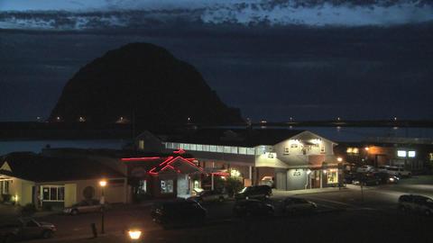 Dusk behind the coastal town of Morro Bay, California Stock Video Footage