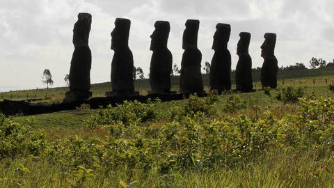 Grass blows in front of the Easter Island statues Footage