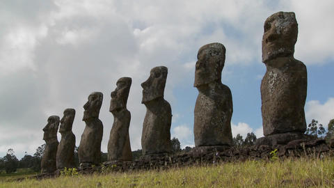 Time lapse of clouds behind the amazing statues at Easter Island Footage