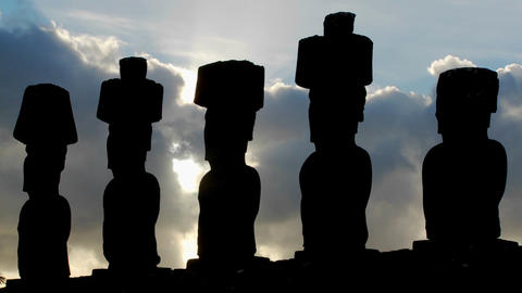 Clouds Move Mysteriously Behind Easter Island Statues stock footage