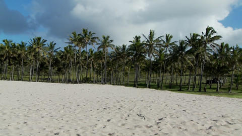 Pan across a nearly perfect white sand beach with... Stock Video Footage