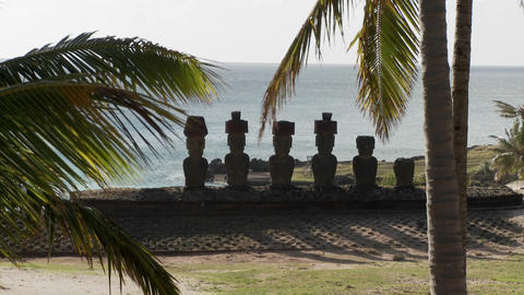 Easter Island statues with the ocean in the background... Stock Video Footage