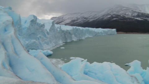 Pan across the lip of a glacier Footage