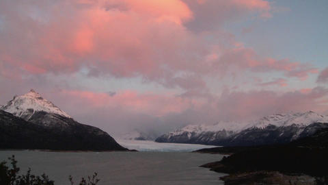 Sunrise over a glacier Stock Video Footage