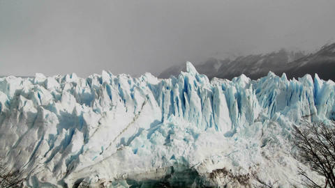 Pan across a tops of a vast glacier Stock Video Footage