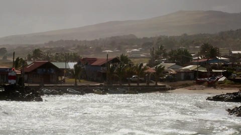 The town of Hanga Roa on the Easter Island Stock Video Footage