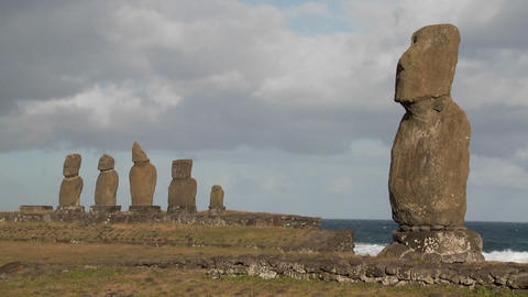 The mystical statues of Easter Island Stock Video Footage