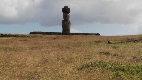 Wind blows across the grass in this lonely Easter Island scene Footage