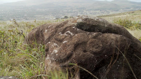 Mysterious stone carvings adorn a lookout spot for... Stock Video Footage