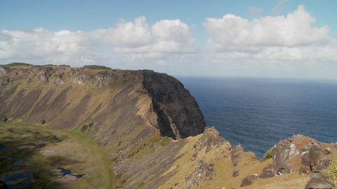 Time lapse across a volcanic cone crater on Easter Island Stock Video Footage