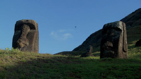 Low angle of giant stone carvings on Easter Island Footage
