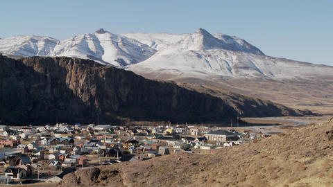 Pan across the town of El Chalten in one of the most... Stock Video Footage