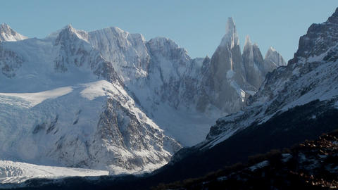 The remarkable mountain range of Fitzroy in Patagonia, Argentina with snowclad glaciers Footage