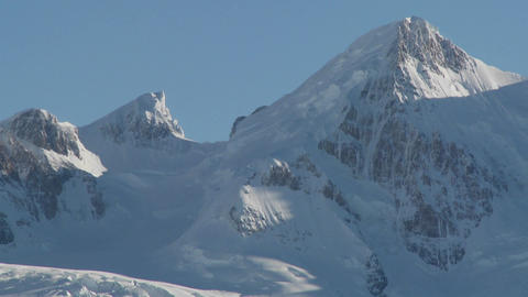 Glaciers carve out a deep valley in the Andes mountains,... Stock Video Footage