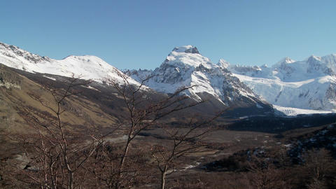 Pan across to the remarkable mountain range of Fitzroy in... Stock Video Footage