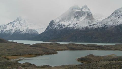 Marvelous peaks tower over alpine lakes in Patagonia,... Stock Video Footage