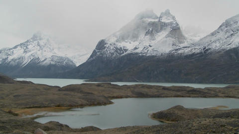Marvelous peaks tower over alpine lakes in Patagonia, Argentina Footage