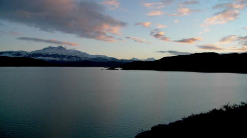 A wide shot of a beautiful lake in Patagonia, Argentina Footage