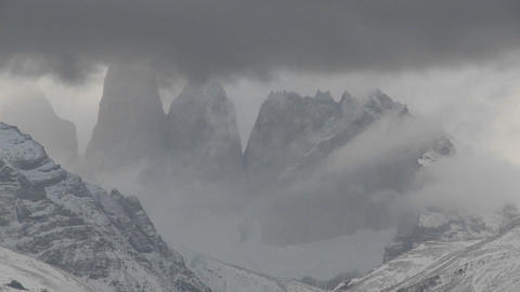 A beautiful time lapse shot of clouds moving over the mountains in Torres Del Paine, Patagonia, Arge Footage