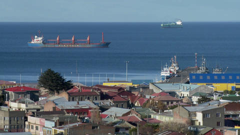 A view over the harbor and cargo ships in the Southern Chile town of Punta Arenas Footage