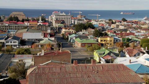 A view over downtown Punta Arenas in the Southern part of Chile Live Action