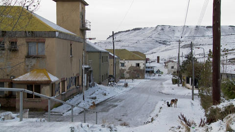 A frozen cityscape in a small town in Argentina or Chile Stock Video Footage