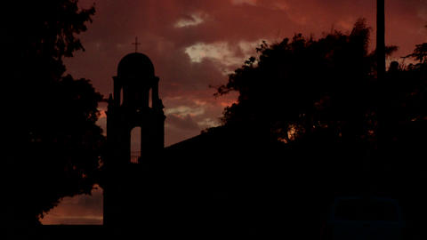 An old California style mission bell tower against a... Stock Video Footage