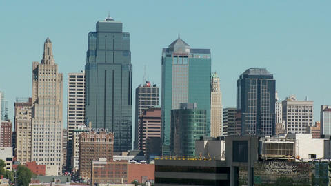 A daytime view of the Kansas City, Missouri skyline Stock Video Footage
