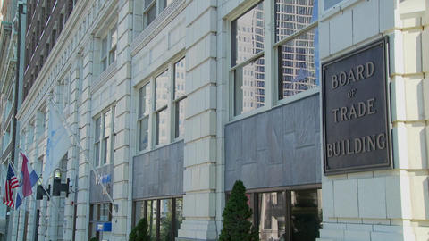 A panning shot of the Kansas City Board of Trade building Stock Video Footage
