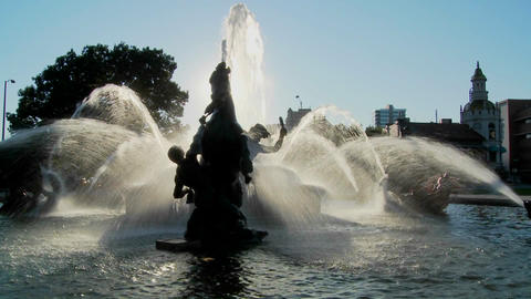 A downtown fountain in Kansas City with buildings background Footage