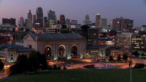A night time view of the Kansas City, Missouri skyline Footage